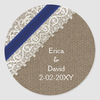 FAUX navy blue lace and burlap , wedding seals Classic Round Sticker