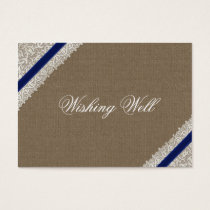 FAUX navy blue lace and burlap wishing well cards