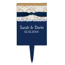 FAUX navy blue lace burlap personalized cake pick