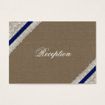 FAUX navy blue lace  wedding Reception Cards
