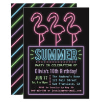 Faux Neon Flamingo Summer Sixteen Birthday Party Invitation