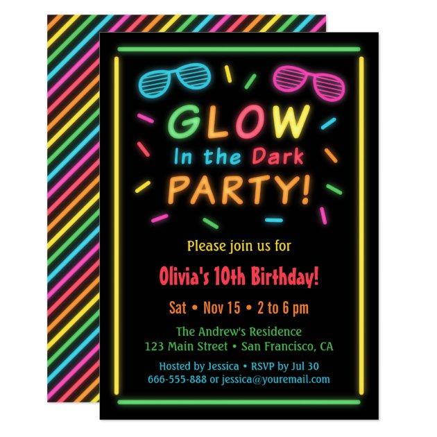 Glow Birthday Invitations is amazing invitation layout