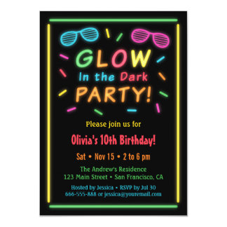Faux Neon Glow Birthday Party Invitations