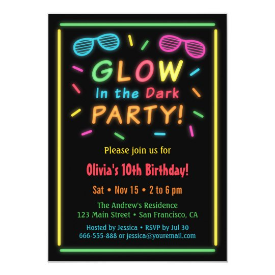 Faux Neon Glow Birthday Party Invitations | Zazzle.com