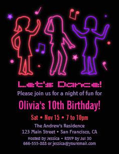 neon dance party invitations zazzle
