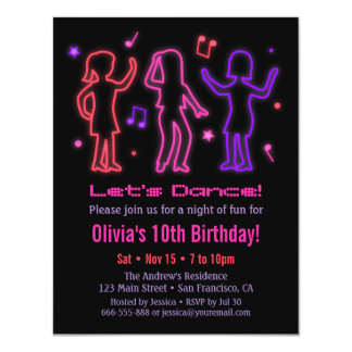 Faux Neon Glow Dance Birthday Party Invitations