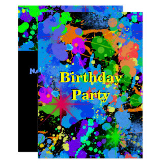 Faux Neon, Paint Splatter, Birthday Invitation