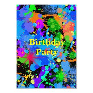 Faux Neon Paint Splatter, Birthday  Invitation