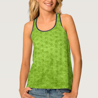 Faux Nubby Texture Printed Green Background Tank Top