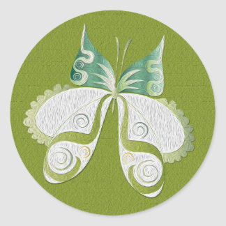 Faux Oil Painted Green Butterfly Round Stamp Classic Round Sticker
