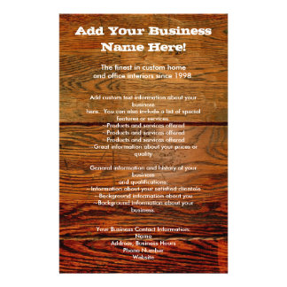 Faux Oiled Wood Plank Personalized Custom Flyer