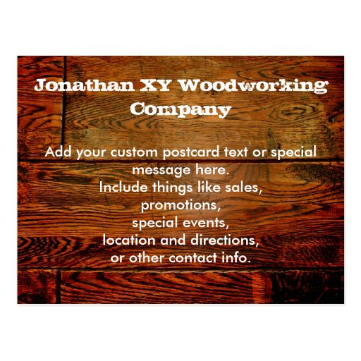 Faux Oiled Wood Plank Personalized Custom Postcards