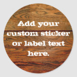 Faux Oiled Wood Plank Personalized Custom Round Sticker