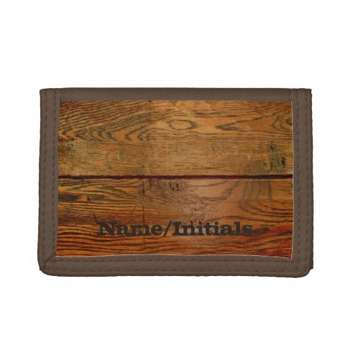 Faux Oiled Wood Plank Personalized Custom Trifold Wallet