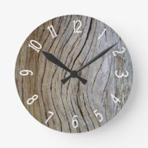 Faux Old Curved Cypress Tree Bark Round Clock