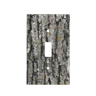 Faux Old Gray Tree Bark Light Switch Cover