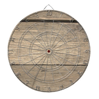 Faux Old Wooden Barrel Dartboard With Darts