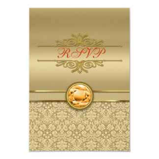 Faux Orange Topaz Gemstone Metallic Gold Damask Card