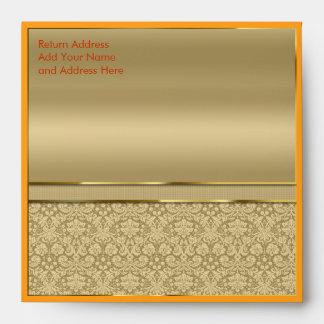 Faux Orange Topaz Gemstone Metallic Gold Damask Envelope