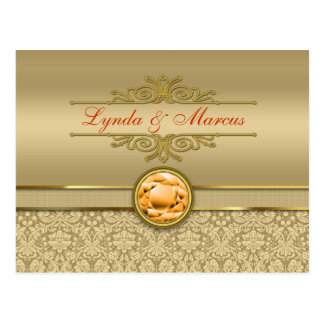 Faux Orange Topaz Gemstone Metallic Gold Damask Postcard