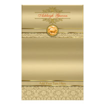 Faux Orange Topaz Gemstone Metallic Gold Damask Stationery