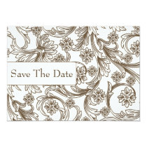 FAUX paper cutout brown save the dates Card