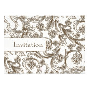 Brown floral wedding invites by mgdezigns
