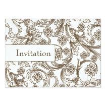 FAUX paper cutout brown wedding invites