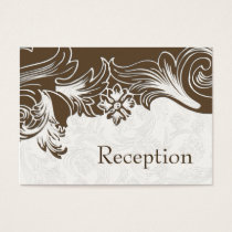 FAUX paper cutout brown wedding Reception Cards