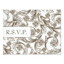 FAUX paper cutout brown wedding rsvp cards