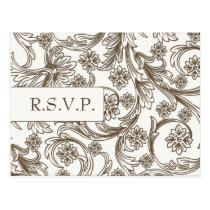 FAUX paper cutout brown wedding rsvp Postcard