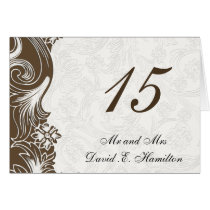 FAux paper cutout brown wedding  Table numbers Card