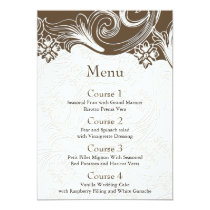 FAUX paper cutout effect brown wedding menu Card