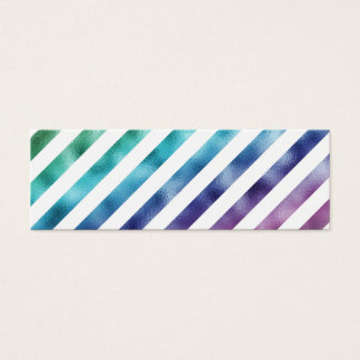Faux Pastel Green Blue Purple Rainbow White Mini Business Card