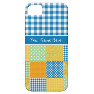 Faux Patchwork and Blue, White Check Gingham iPhone SE/5/5s Case