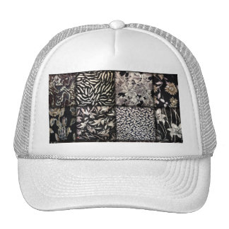 Faux Patchwork Quilting - Black and White Hats