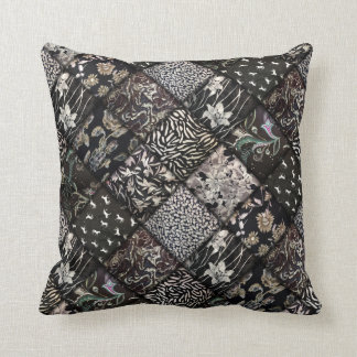 Faux Patchwork Quilting - Black and White Pillow