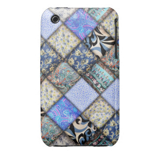 Faux Patchwork Quilting - Blue iPhone 3 Case-Mate Case