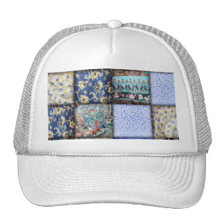 Faux Patchwork Quilting - Blue Fabric Mesh Hat