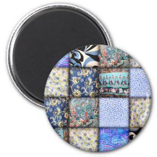 Faux Patchwork Quilting - Blue Fabric Fridge Magnets