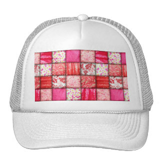 Faux Patchwork Quilting - Red and Pink Hats