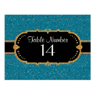 Faux Peacock Blue Gold Glitter Damask Ticket Style Postcard