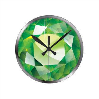 """Faux-""""Peridot"""" Stone Round Clock"""
