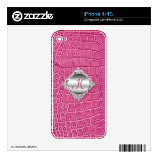 Faux Pink Alligator and Monogram iPhone 4 Skin
