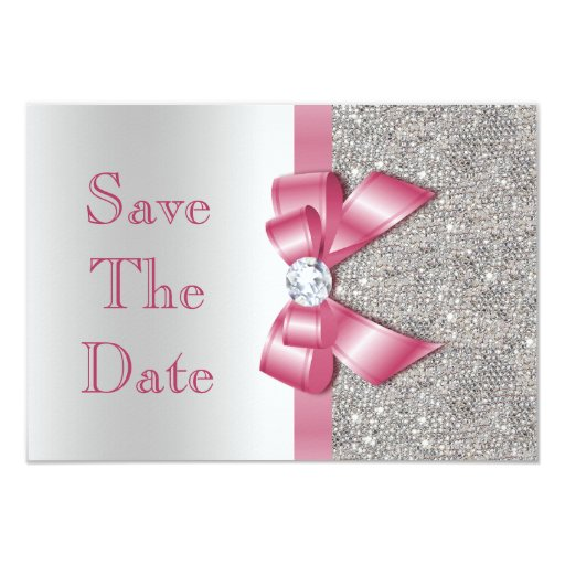 Faux Pink Bow Diamonds Save The Date Baby Shower Card | Zazzle