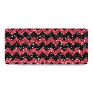 Faux Pink Glitter Chevron Pattern Black Glitter Card