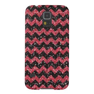 Faux Pink Glitter Chevron Pattern Black Glitter Galaxy S5 Cover