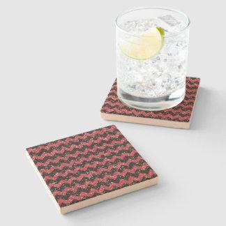Faux Pink Glitter Chevron Pattern Black Glitter Stone Beverage Coaster