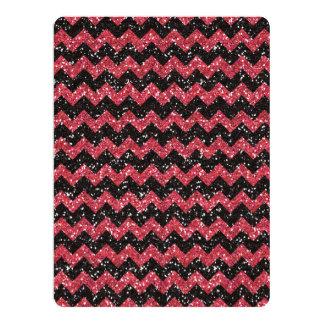 Faux Pink Glitter Chevron Pattern Black Glitter 6.5x8.75 Paper Invitation Card