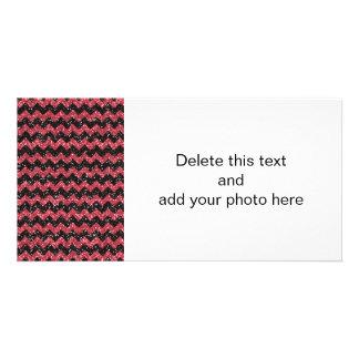 Faux Pink Glitter Chevron Pattern Black Glitter Custom Photo Card